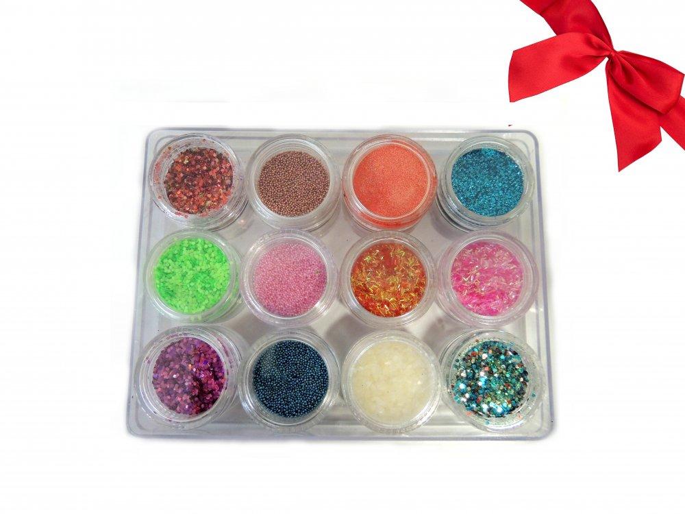 Dárková sada - 12 různých barev MIX ozdob