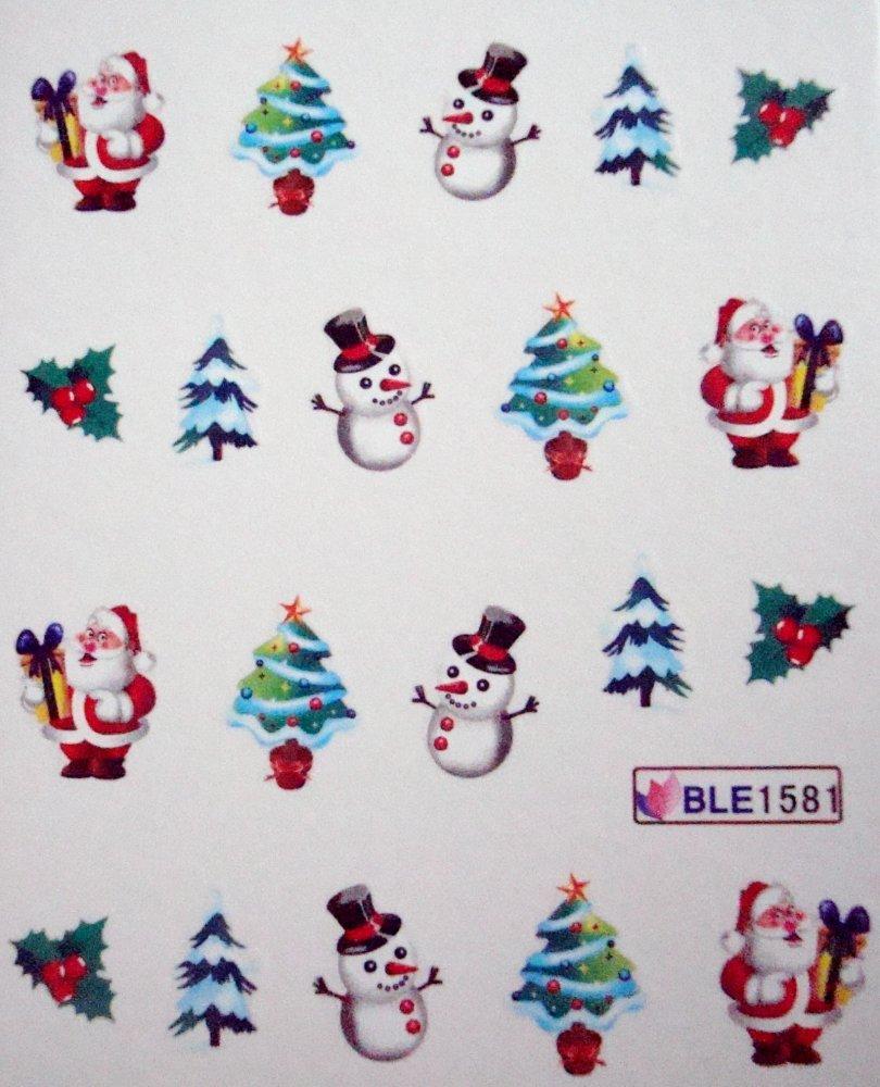 Vodolepky na zdobení nehtů - Vánoční stromky BLE1581 20 ks